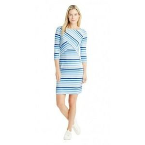 J. McLaughlin  Nicola Blue  Stripe Layered Dress